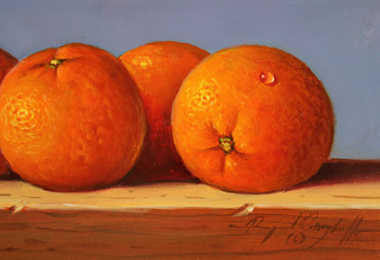 Raymond Campbell, Original oil painting on panel, Oranges Signature image. Click to enlarge
