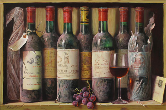 Raymond Campbell, Original oil painting on panel, Cellar Favourites No frame image. Click to enlarge