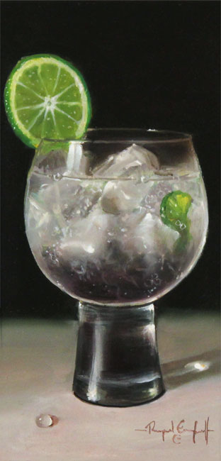 Raymond Campbell, Original oil painting on panel, Lime and Sparkle  No frame image. Click to enlarge