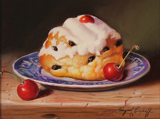 Raymond Campbell, Original oil painting on panel, Belgian Bun with Cherries  No frame image. Click to enlarge