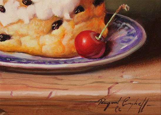 Raymond Campbell, Original oil painting on panel, Belgian Bun with Cherries  Signature image. Click to enlarge