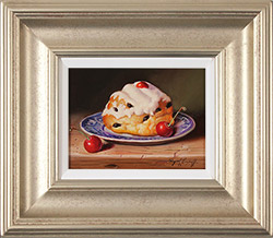 Raymond Campbell, Original oil painting on panel, Belgian Bun with Cherries