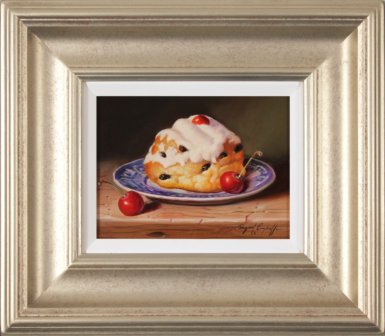 Raymond Campbell, Original oil painting on panel, Belgian Bun with Cherries  Click to enlarge