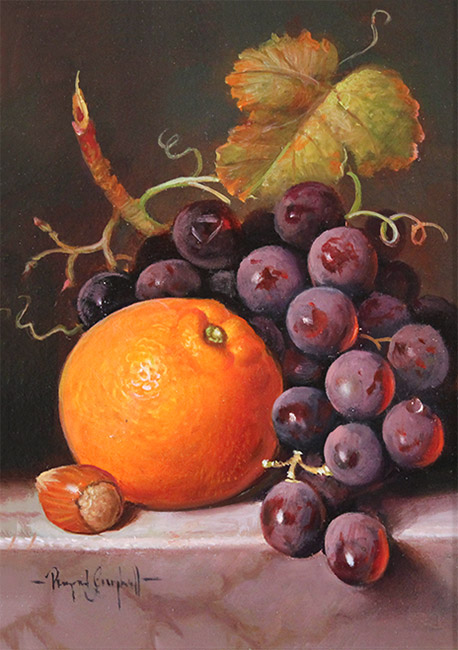Raymond Campbell, Original oil painting on panel, A Ripe Selection  No frame image. Click to enlarge