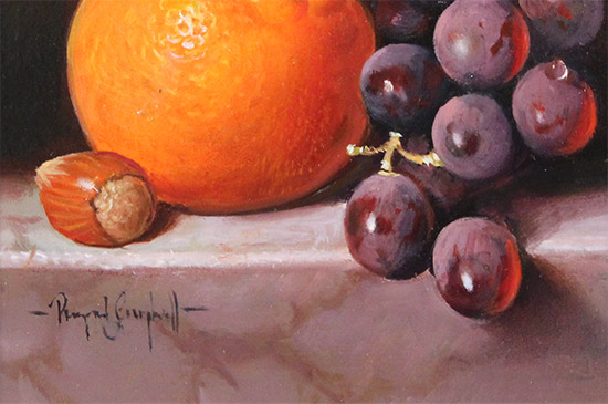 Raymond Campbell, Original oil painting on panel, A Ripe Selection  Signature image. Click to enlarge