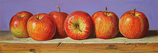 Raymond Campbell, Original oil painting on panel, Apples No frame image. Click to enlarge