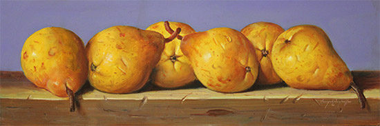 Raymond Campbell, Original oil painting on panel, Pears No frame image. Click to enlarge