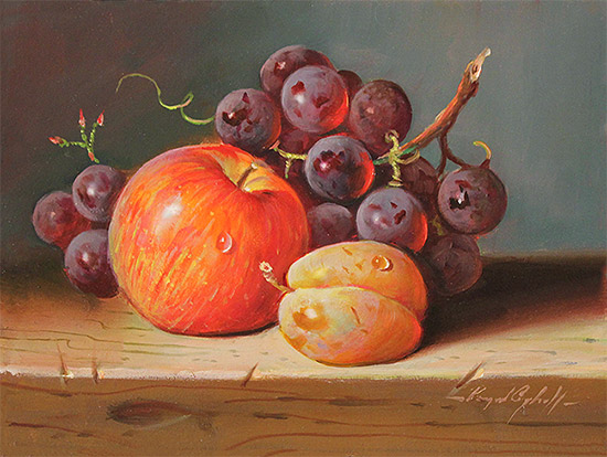 Raymond Campbell, Original oil painting on panel, Fresh Fruit  No frame image. Click to enlarge
