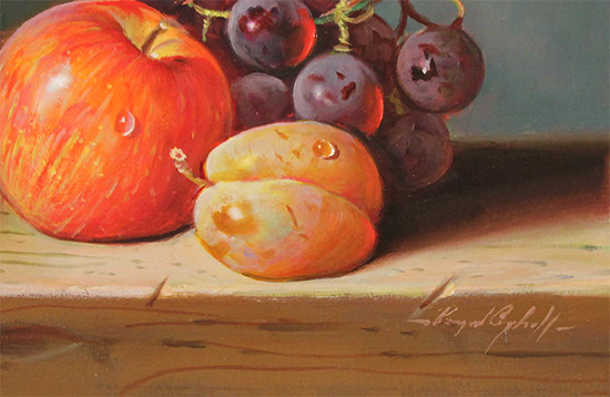 Raymond Campbell, Original oil painting on panel, Fresh Fruit  Signature image. Click to enlarge