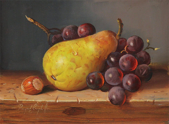 Raymond Campbell, Original oil painting on panel, Pear, Walnut and Grapes No frame image. Click to enlarge