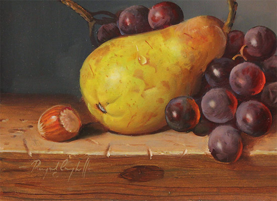 Raymond Campbell, Original oil painting on panel, Pear, Walnut and Grapes Signature image. Click to enlarge