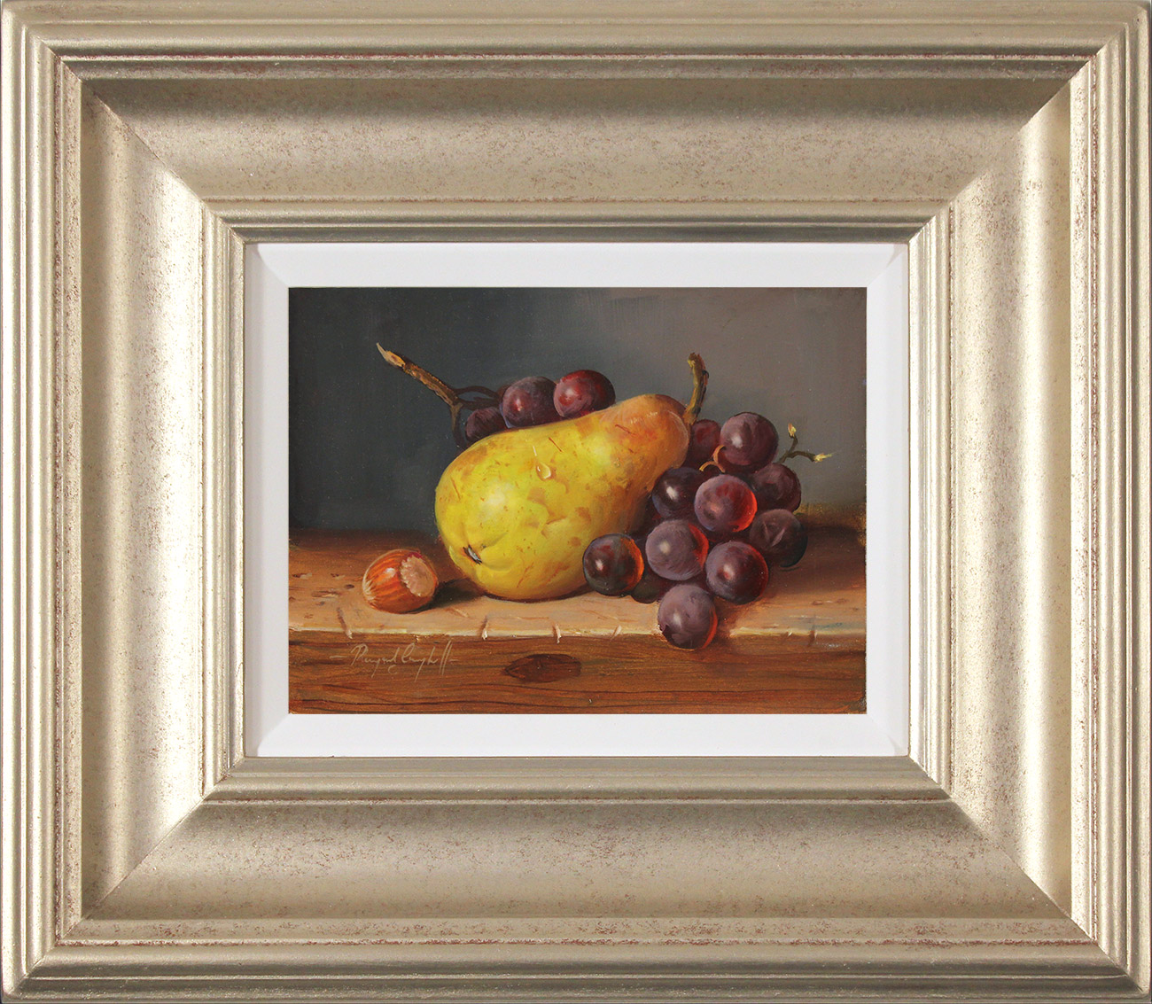 Raymond Campbell, Original oil painting on panel, Pear, Walnut and Grapes Click to enlarge