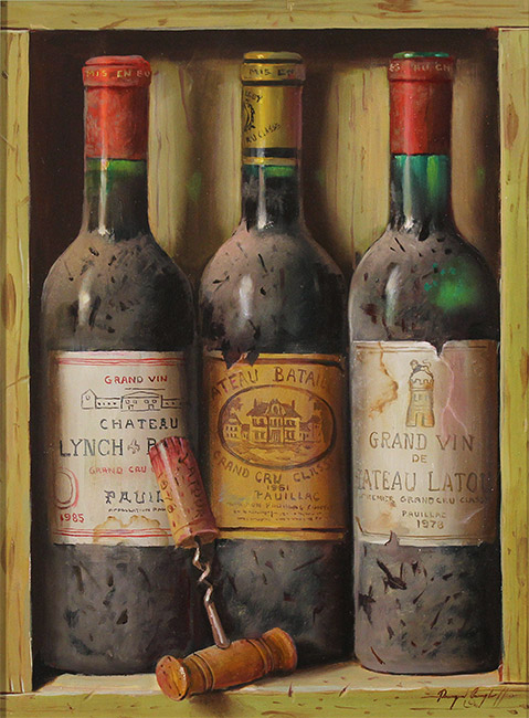 Raymond Campbell, Original oil painting on panel, Treasures of the Cellar  No frame image. Click to enlarge
