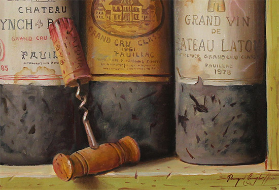 Raymond Campbell, Original oil painting on panel, Treasures of the Cellar  Signature image. Click to enlarge