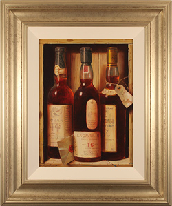 Raymond Campbell, Original oil painting on panel, Whisky Galore, Three of the Finest