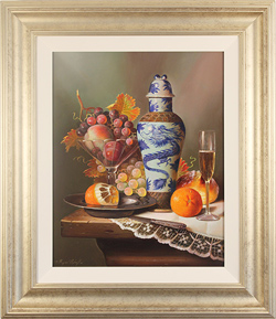 Raymond Campbell, Original oil painting on panel, Dragon Vase with Fruit
