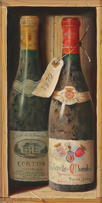 Raymond Campbell, Original oil painting on panel, Corton Grand Cru, 1989 No frame image. Click to enlarge