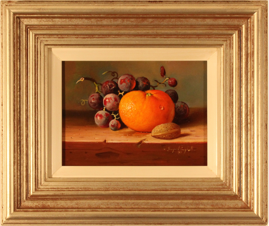 Raymond Campbell, Original oil painting on panel, Grapes and Orange Click to enlarge
