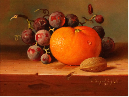 Raymond Campbell, Original oil painting on panel, Grapes and Orange No frame image. Click to enlarge