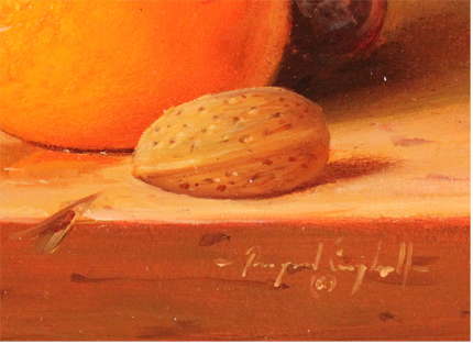 Raymond Campbell, Original oil painting on panel, Grapes and Orange Signature image. Click to enlarge
