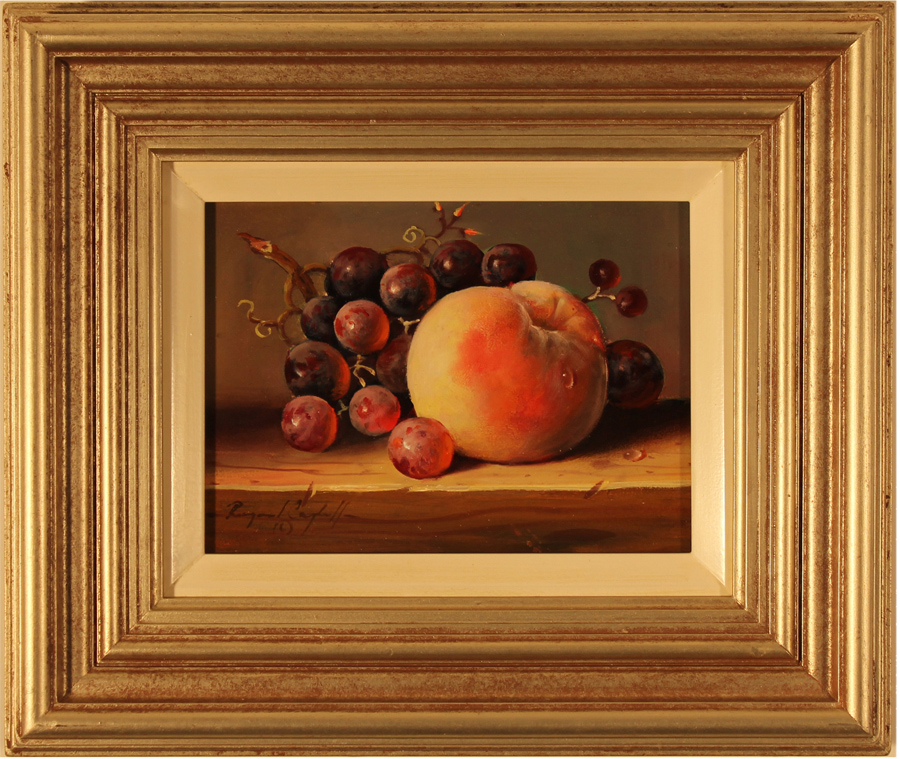 Raymond Campbell, Original oil painting on panel, Grapes and Peach Click to enlarge