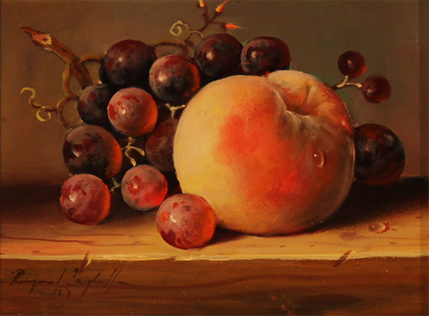 Raymond Campbell, Original oil painting on panel, Grapes and Peach No frame image. Click to enlarge
