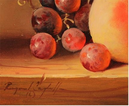 Raymond Campbell, Original oil painting on panel, Grapes and Peach Signature image. Click to enlarge