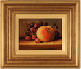 Raymond Campbell, Original oil painting on panel, Grapes and Peach