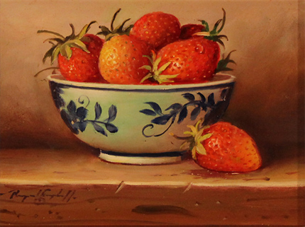 Raymond Campbell, Original oil painting on panel, Strawberries No frame image. Click to enlarge