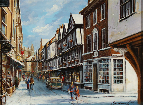 Gordon Lees, Original oil painting on panel, Stonegate, York