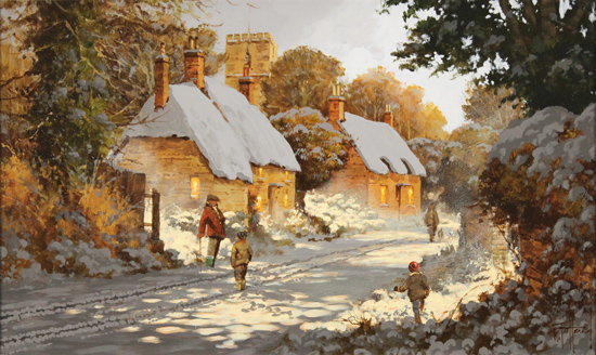 Richard Telford, Original oil painting on panel, Boxing Day Stroll