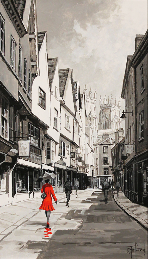 Richard Telford, Original oil painting on panel, Stroll Down The Shambles No frame image. Click to enlarge