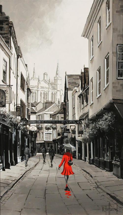 Richard Telford, Original oil painting on panel, Scarlet on Stonegate, York No frame image. Click to enlarge