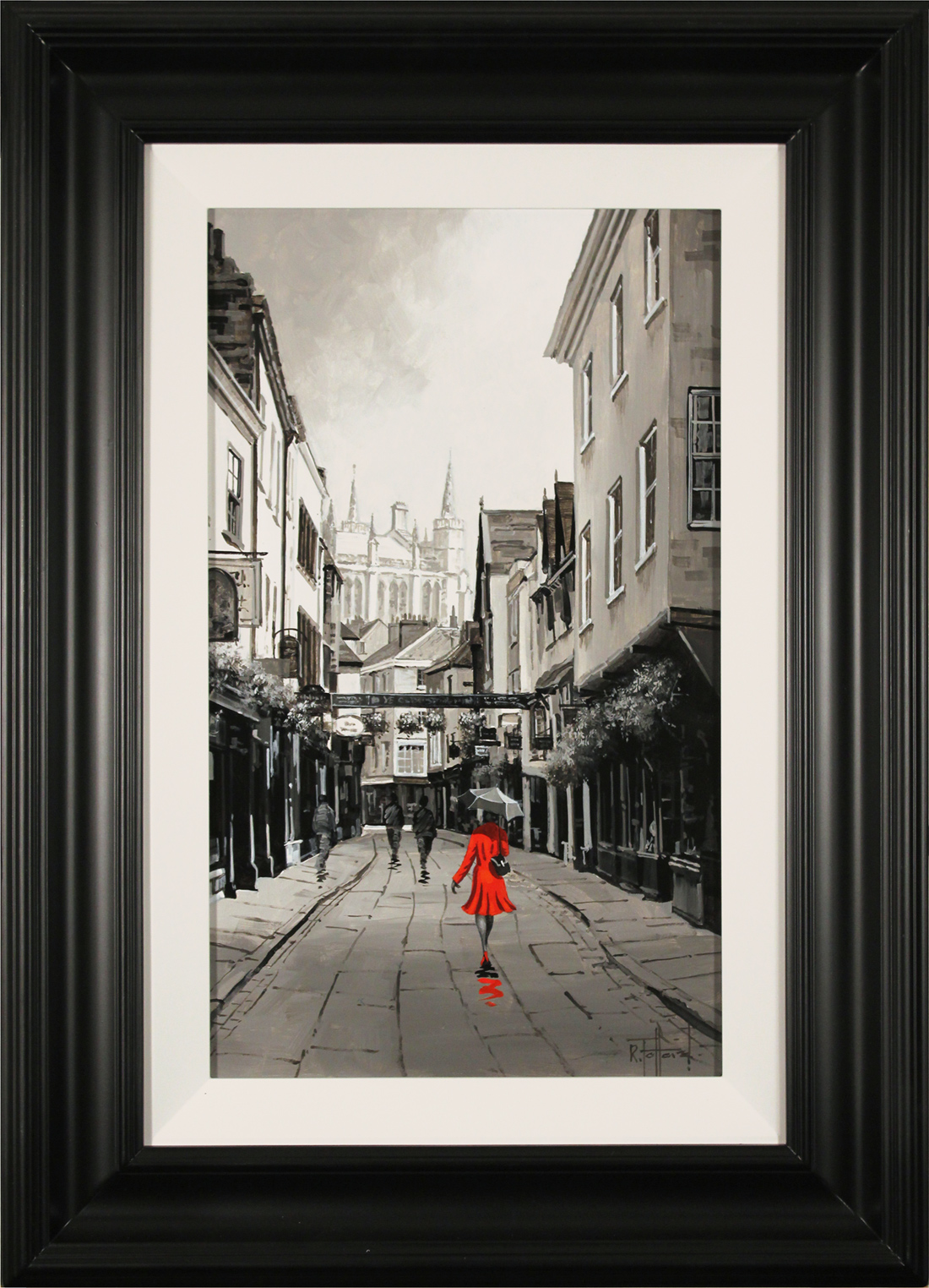 Richard Telford, Original oil painting on panel, Scarlet on Stonegate, York Click to enlarge
