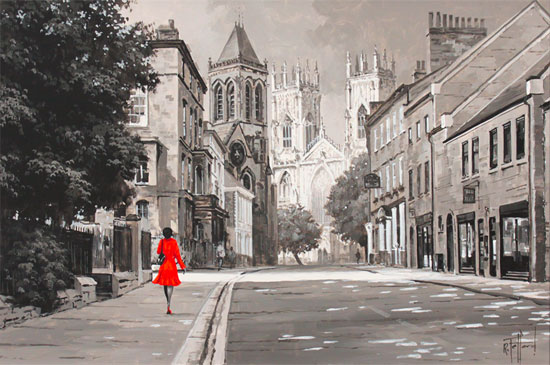 Richard Telford, Original oil painting on panel, Walk to York Minster