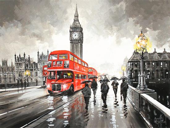 Richard Telford, Original oil painting on panel, Westminster Bridge, London No frame image. Click to enlarge
