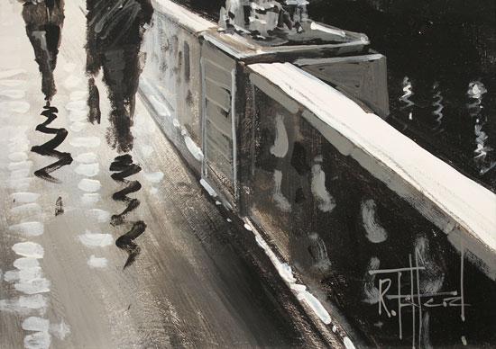 Richard Telford, Original oil painting on panel, Westminster Bridge, London Signature image. Click to enlarge