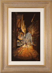 Richard Telford, Original oil painting on panel, Shadows of The Shambles, York