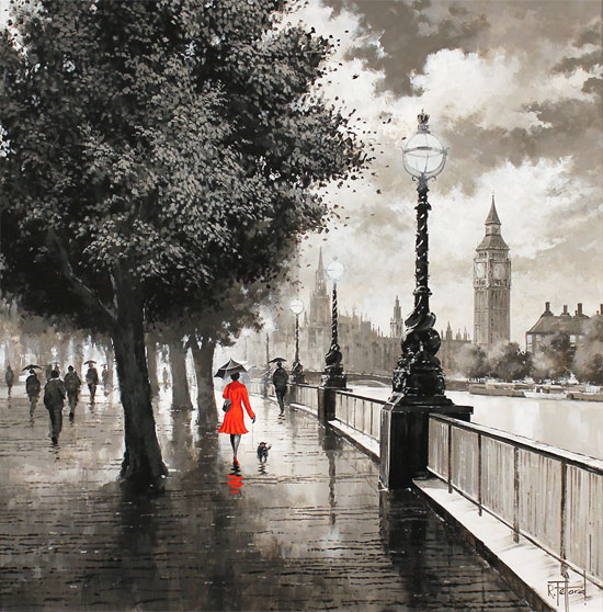 Richard Telford, Original oil painting on panel, The Queen's Walk, London No frame image. Click to enlarge
