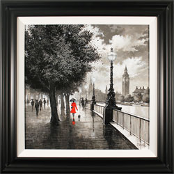 Richard Telford, Original oil painting on panel, The Queen's Walk, London