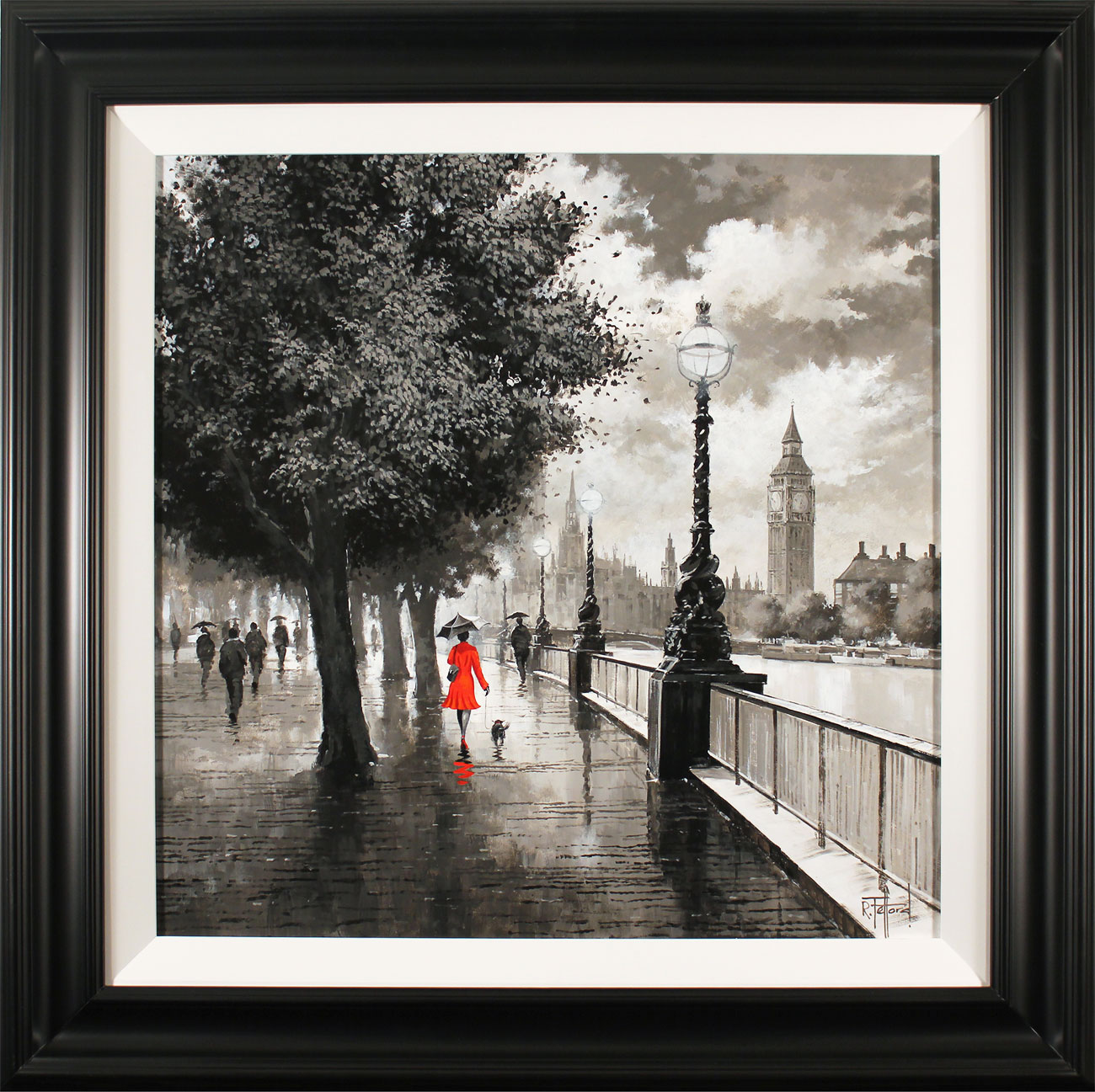 Richard Telford, Original oil painting on panel, The Queen's Walk, London Click to enlarge