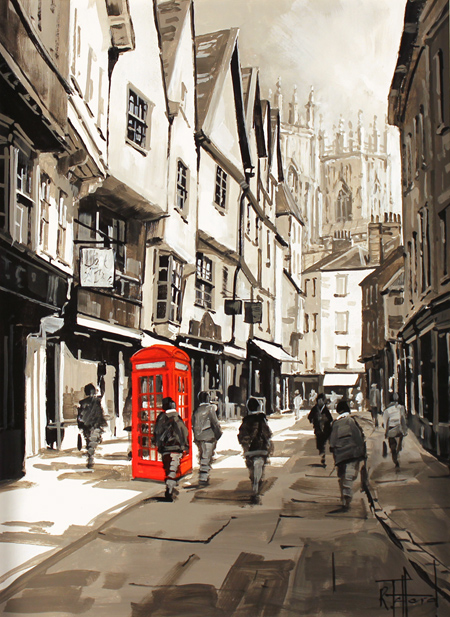 Richard Telford, Original oil painting on panel, Telephone Box on Low Petergate