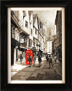 Richard Telford, Original oil painting on panel, Cafés and Cobbled Streets