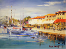 Roberto Luigi Valente, Original acrylic painting on board, Harbour, Saint Tropez