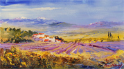 Roberto Luigi Valente, Original acrylic painting on board, Lavender Fields, Tuscany