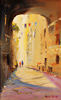 Roberto Luigi Valente, Original acrylic painting on board, Naples, Old Town