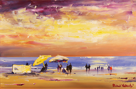 Roberto Luigi Valente, Original acrylic painting on board, Naples Beach