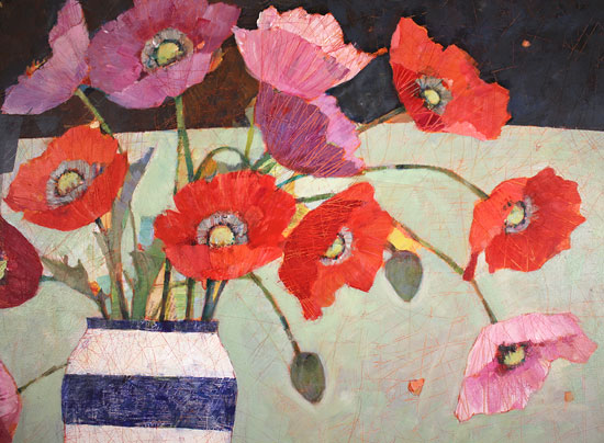 Sally Anne Fitter, Original acrylic painting on canvas, Evening Poppies No frame image. Click to enlarge