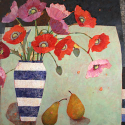 Sally Anne Fitter, Original acrylic painting on canvas, Evening Poppies Medium image. Click to enlarge