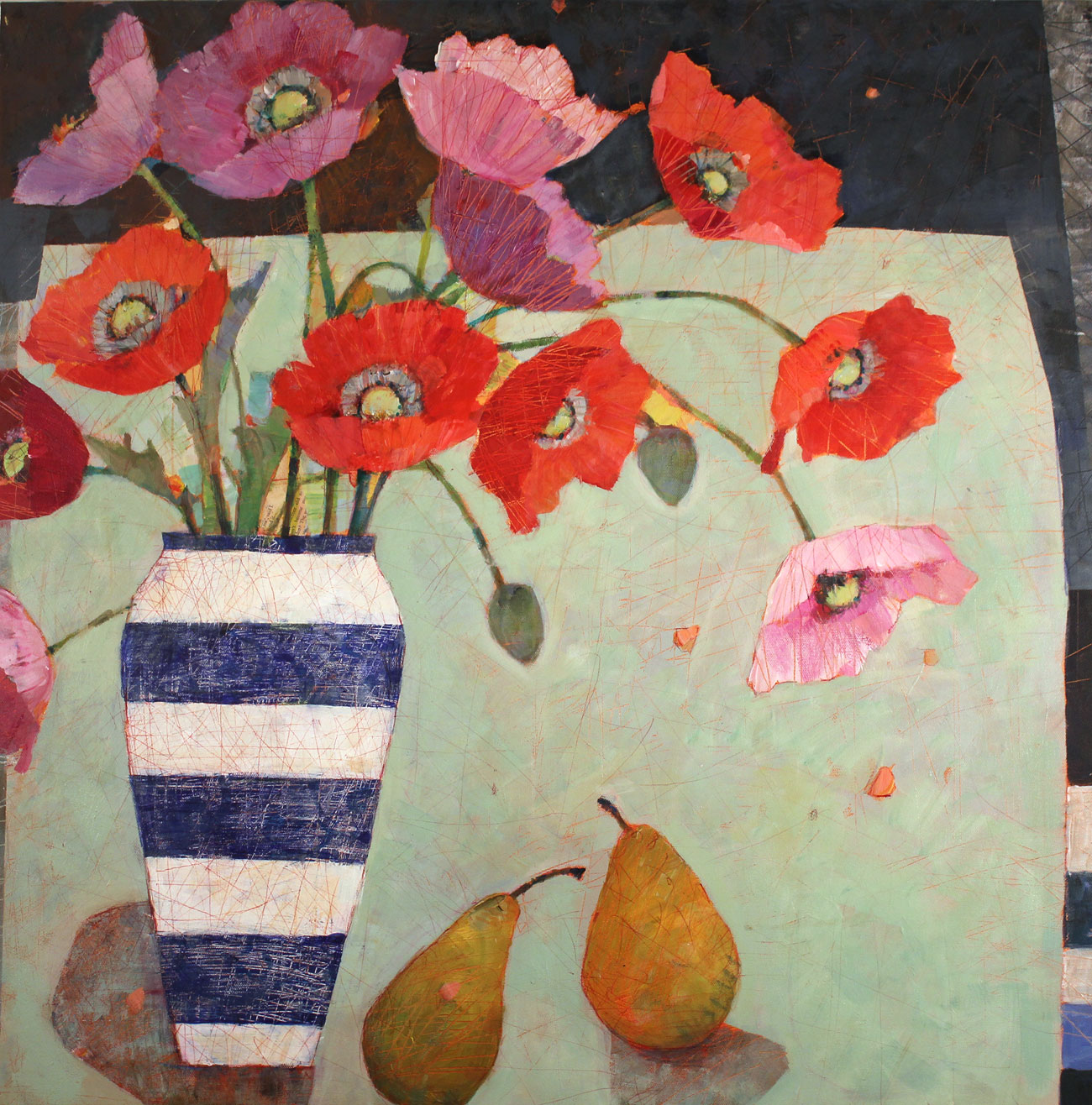 Sally Anne Fitter, Original acrylic painting on canvas, Evening Poppies Click to enlarge